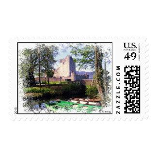 Franqueo de la postal del castillo de Ross Sellos