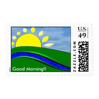 Franqueo de la sol de la buena mañana sello postal