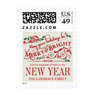 Franqueo de la tipografía del día de fiesta del sello