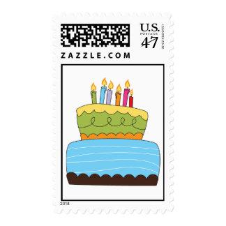 Franqueo de la torta del feliz cumpleaños estampilla
