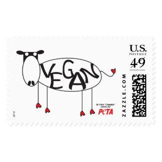 Franqueo de la vaca del vegano timbre postal