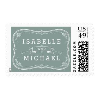 Franqueo de la voluta del vintage del boda de timbres postales