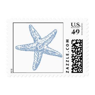 Franqueo de las estrellas de mar - azul sello