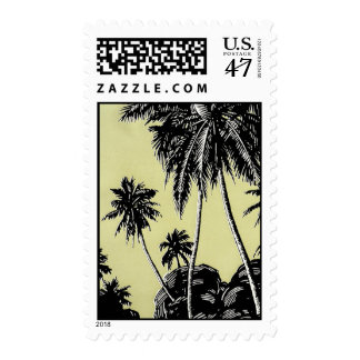 Franqueo de las palmeras del vintage sello