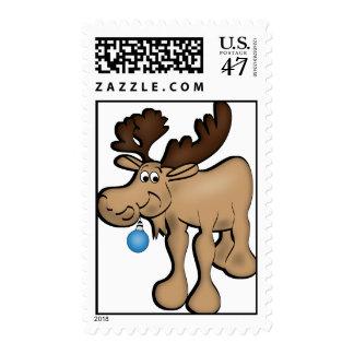 Franqueo de los alces del navidad sello postal