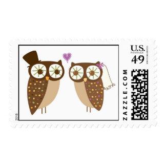 franqueo de los búhos del boda timbre postal