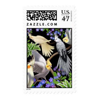 Franqueo de los Cockatiels y de las flores Sellos Postales