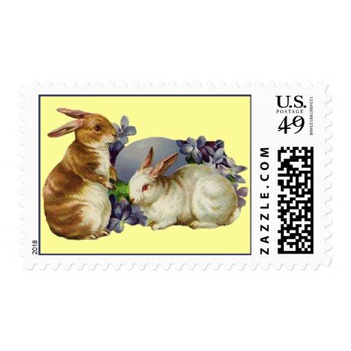 Franqueo de los conejitos de pascua del vintage timbre postal