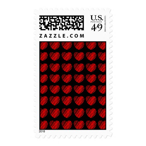 Franqueo de los corazones de los corazones y de lo sellos postales