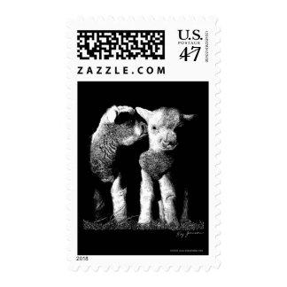 Franqueo de los corderos sello postal