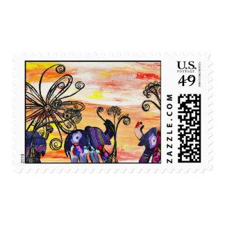 Franqueo de los elefantes indios timbre postal