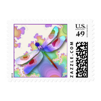 Franqueo de los fractales de la libélula sello postal