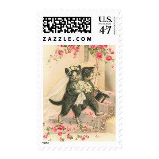 Franqueo de los gatitos del boda del vintage sellos postales