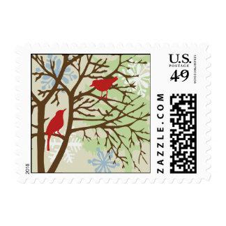 Franqueo de los pájaros del día de fiesta timbre postal