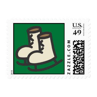 Franqueo de los patines de hielo del dibujo sello postal
