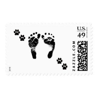 Franqueo de los pies y de los perros caseros del sello postal