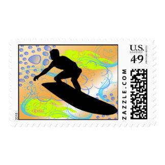 Franqueo de los sueños que practica surf sellos postales