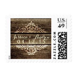 Franqueo de madera del boda del vintage del timbre postal