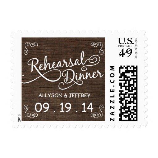 Franqueo de madera rústico de la cena del ensayo timbres postales