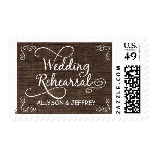 Franqueo de madera rústico del ensayo del boda sellos