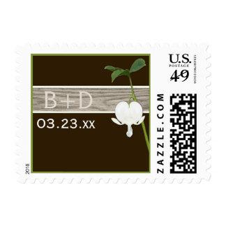 Franqueo de marfil verde del boda del corazón sang timbres postales