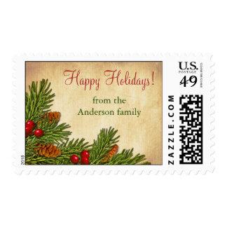 Franqueo de Navidad del navidad de las bayas del Timbre Postal