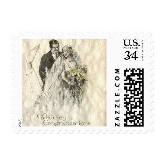 Franqueo de novia y del novio del boda del vintage sellos