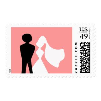 Franqueo de novia y del novio sellos postales