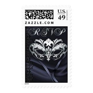 Franqueo de plata de RSVP del negro de la mascarad