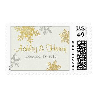 Franqueo de plata del boda del invierno del copo timbre postal