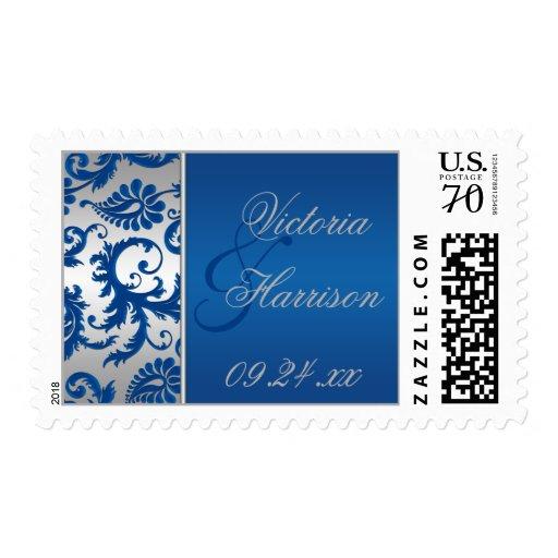 Franqueo de plata y azul del boda del damasco