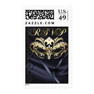 Franqueo de RSVP del negro de la mascarada del oro
