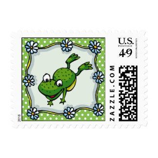 Franqueo de salto de la rana sello postal