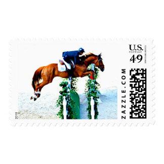 Franqueo de salto del caballo y del jinete sellos