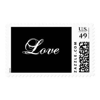 Franqueo del amor blanco y negro sellos postales