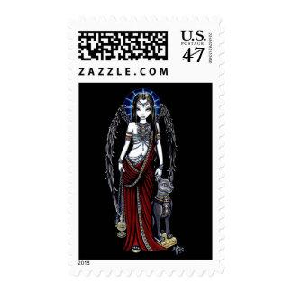 Franqueo del ángel de Bastet del egipcio de Timbres Postales