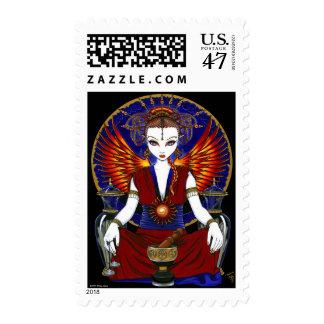 Franqueo del ángel del fuego de la diosa de sello postal