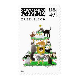 Franqueo del árbol del gato del navidad sellos postales