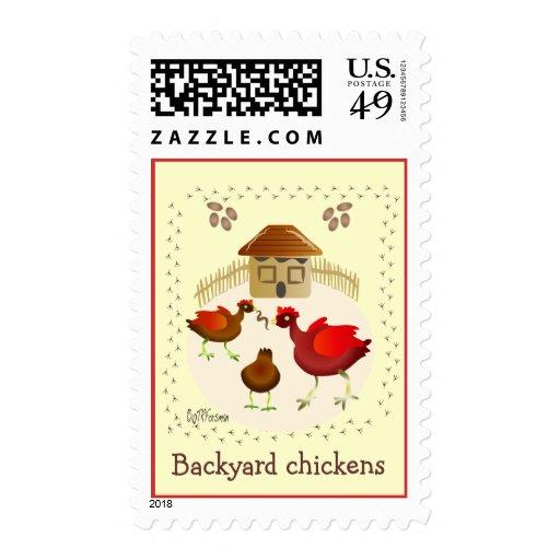Franqueo del arte de los pollos del patio trasero