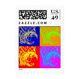 Franqueo del baloncesto del estilo del arte pop timbre postal