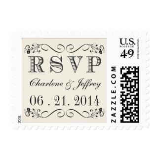 Franqueo del boda de la tipografía del vintage de sello