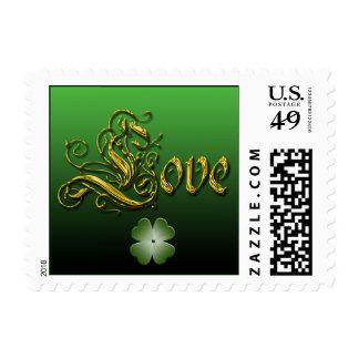 Franqueo del boda de marzo del amor y de la suerte estampilla