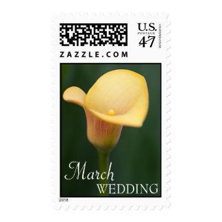 Franqueo del boda de marzo sello postal