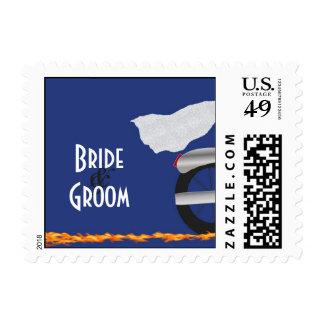 Franqueo del boda del cromo y del motorista del co timbres postales