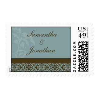 Franqueo del boda del damasco - azules turquesas y sello