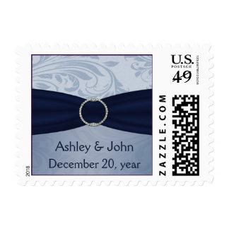 franqueo del boda del damasco de los azules marin