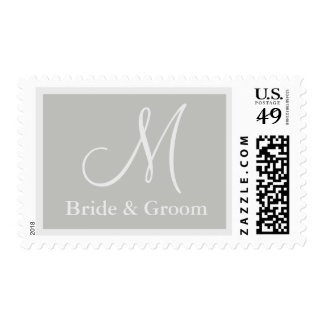 Franqueo del boda del monograma del gris de plata sellos postales