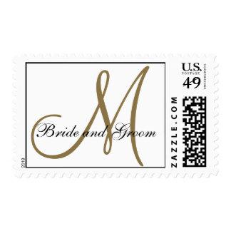 Franqueo del boda del monograma del oro blanco timbres postales