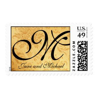 Franqueo del boda del monograma del oro del vintag