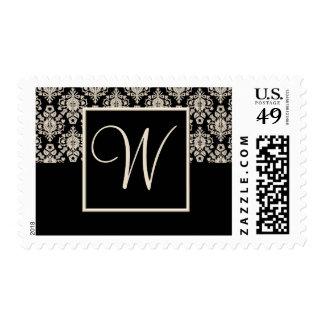 Franqueo del boda del monograma - letra W Estampilla